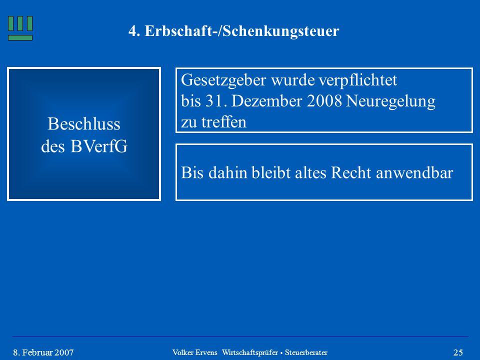 258. Februar 2007 4. Erbschaft-/Schenkungsteuer Beschluss des BVerfG Volker Ervens Wirtschaftsprüfer  Steuerberater Gesetzgeber wurde verpflichtet bi