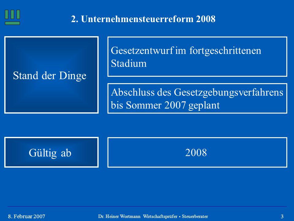 38. Februar 2007 2. Unternehmensteuerreform 2008 Stand der Dinge Gesetzentwurf im fortgeschrittenen Stadium Abschluss des Gesetzgebungsverfahrens bis