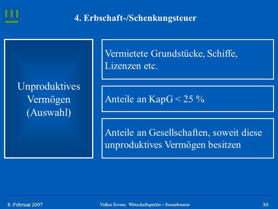308. Februar 2007 4. Erbschaft-/Schenkungsteuer Unproduktives Vermögen (Auswahl) Volker Ervens Wirtschaftsprüfer  Steuerberater Vermietete Grundstück