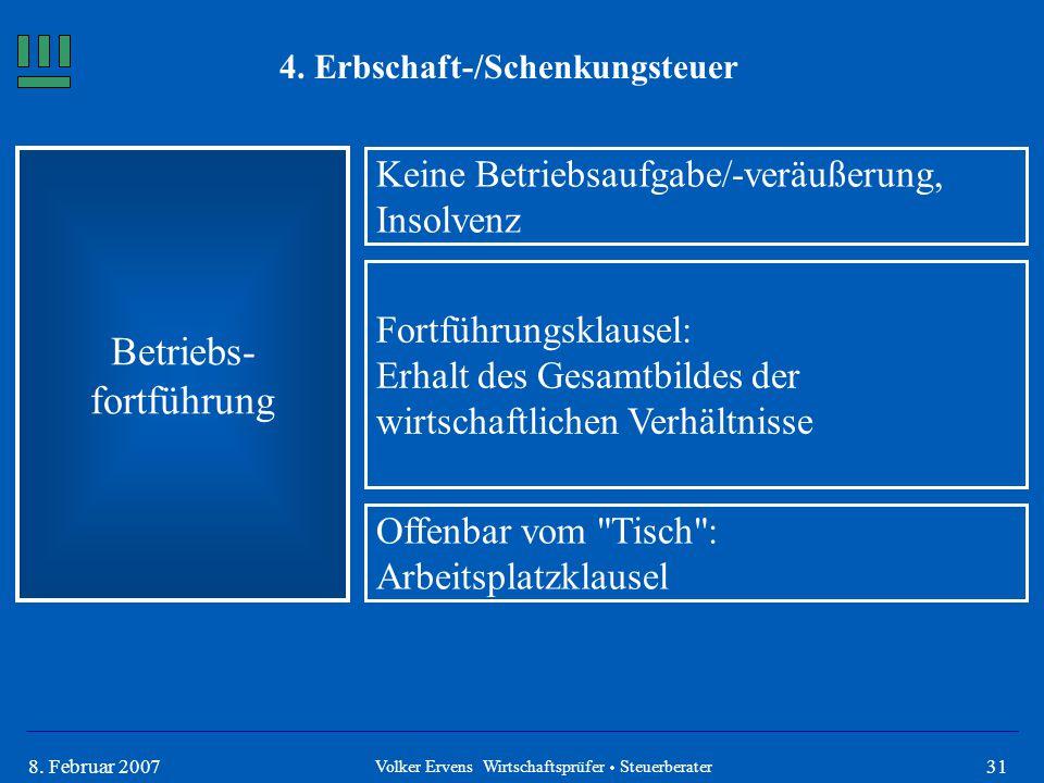 318. Februar 2007 4. Erbschaft-/Schenkungsteuer Betriebs- fortführung Volker Ervens Wirtschaftsprüfer  Steuerberater Keine Betriebsaufgabe/-veräußeru