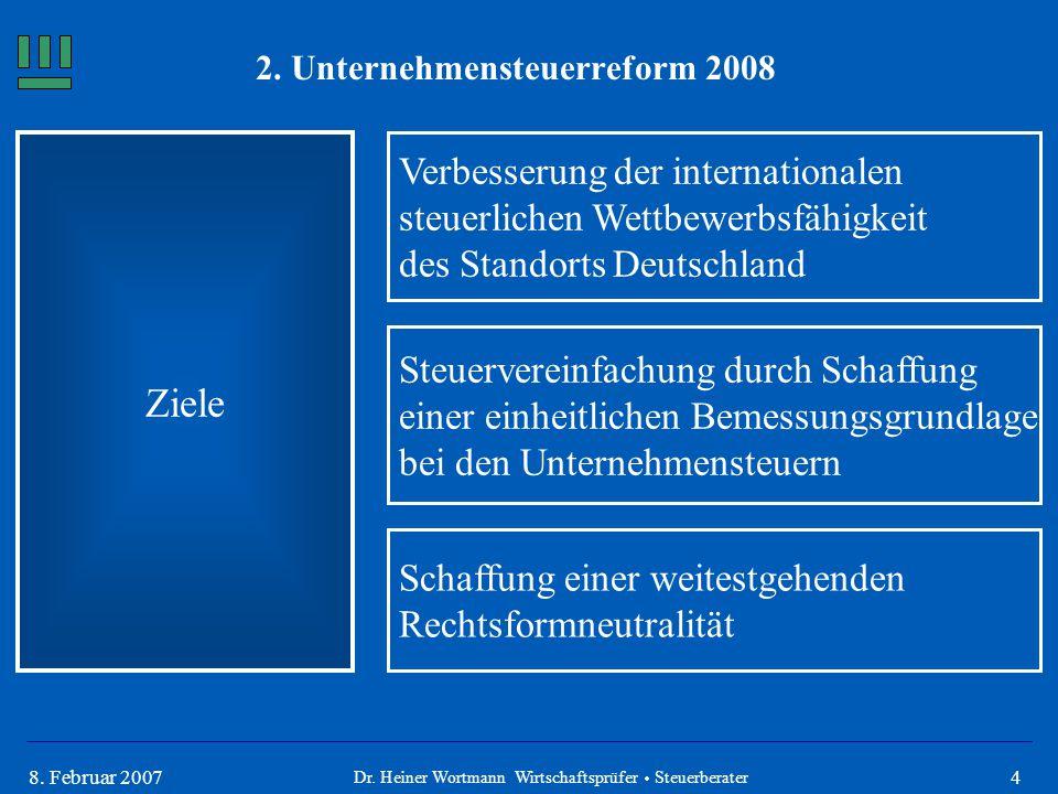 48. Februar 2007 Ziele Verbesserung der internationalen steuerlichen Wettbewerbsfähigkeit des Standorts Deutschland Schaffung einer weitestgehenden Re