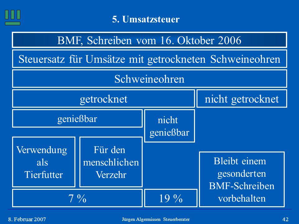 428. Februar 2007 5. Umsatzsteuer Jürgen Algermissen Steuerberater BMF, Schreiben vom 16. Oktober 2006 Steuersatz für Umsätze mit getrockneten Schwein