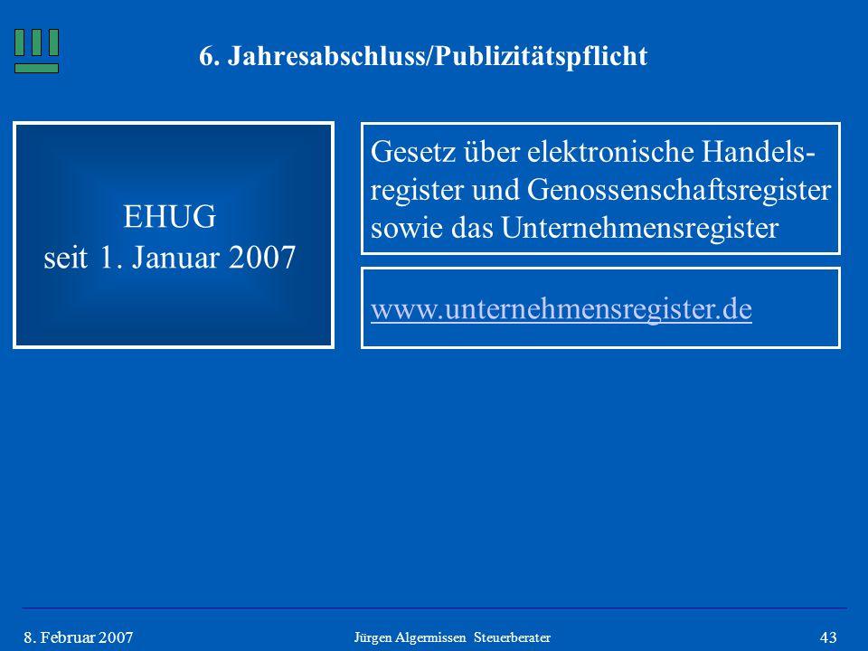 438. Februar 2007 6. Jahresabschluss/Publizitätspflicht EHUG seit 1. Januar 2007 Gesetz über elektronische Handels- register und Genossenschaftsregist
