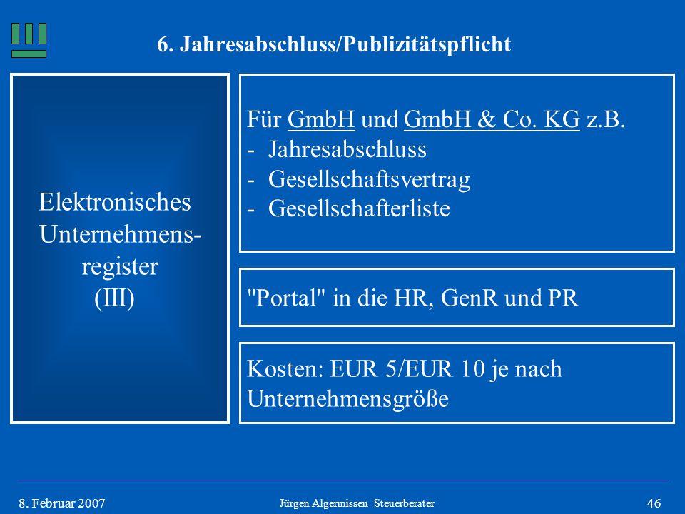468. Februar 2007 Elektronisches Unternehmens- register (III) Für GmbH und GmbH & Co. KG z.B. -Jahresabschluss -Gesellschaftsvertrag -Gesellschafterli