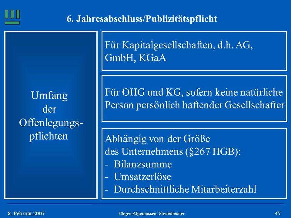478. Februar 2007 Umfang der Offenlegungs- pflichten Für Kapitalgesellschaften, d.h. AG, GmbH, KGaA Jürgen Algermissen Steuerberater Für OHG und KG, s