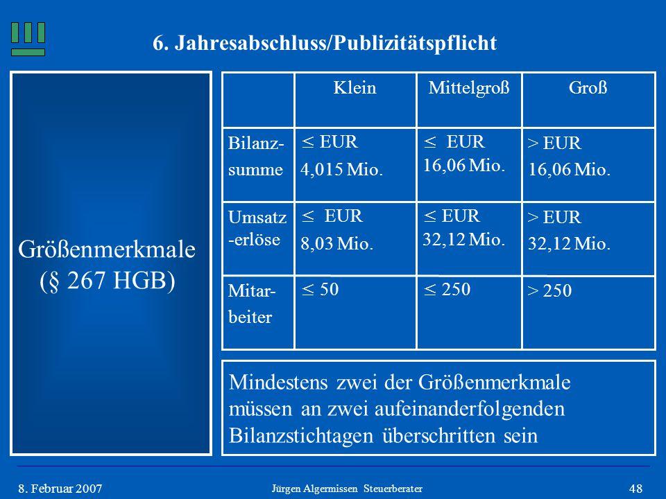 488. Februar 2007 Größenmerkmale (§ 267 HGB) Jürgen Algermissen Steuerberater Mindestens zwei der Größenmerkmale müssen an zwei aufeinanderfolgenden B