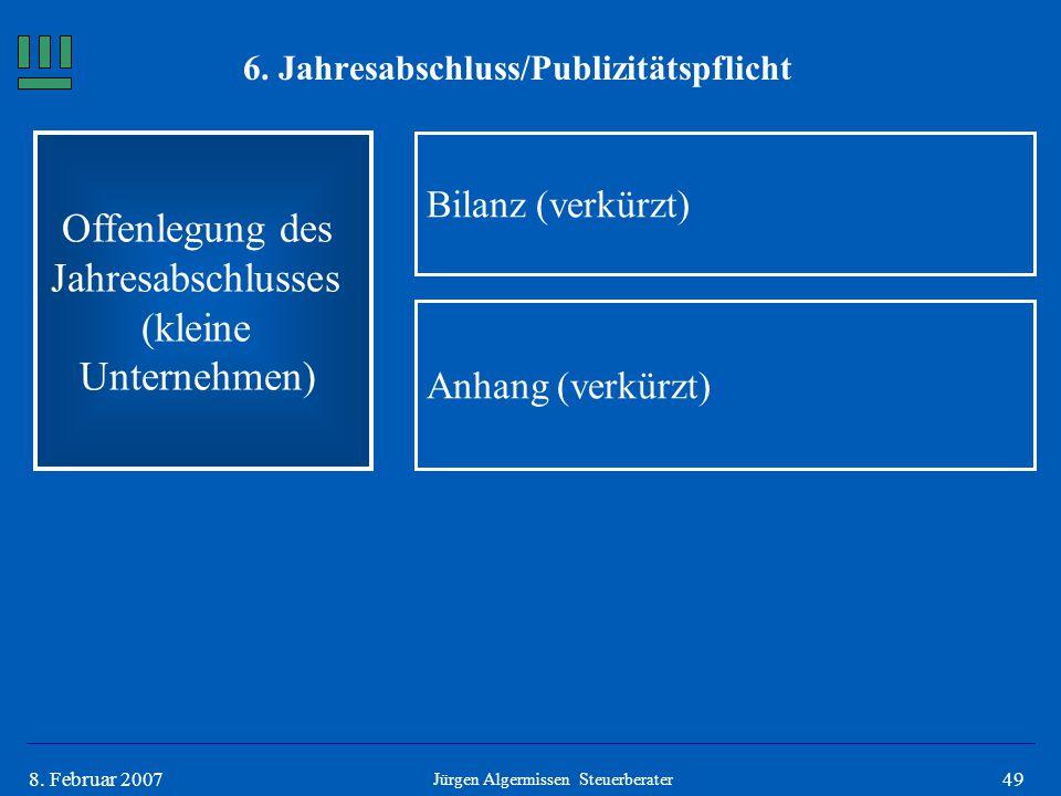 498. Februar 2007 Offenlegung des Jahresabschlusses (kleine Unternehmen) Bilanz (verkürzt) Jürgen Algermissen Steuerberater Anhang (verkürzt) 6. Jahre