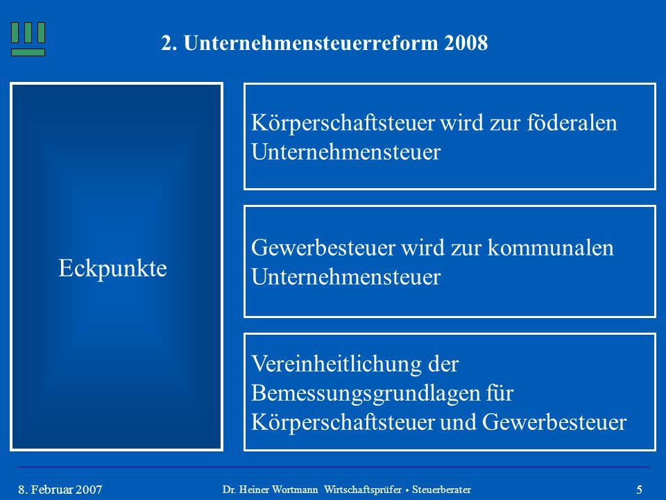 58. Februar 2007 Eckpunkte Körperschaftsteuer wird zur föderalen Unternehmensteuer Vereinheitlichung der Bemessungsgrundlagen für Körperschaftsteuer u