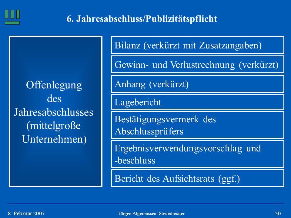 508. Februar 2007 Offenlegung des Jahresabschlusses (mittelgroße Unternehmen) Bilanz (verkürzt mit Zusatzangaben) Jürgen Algermissen Steuerberater Gew