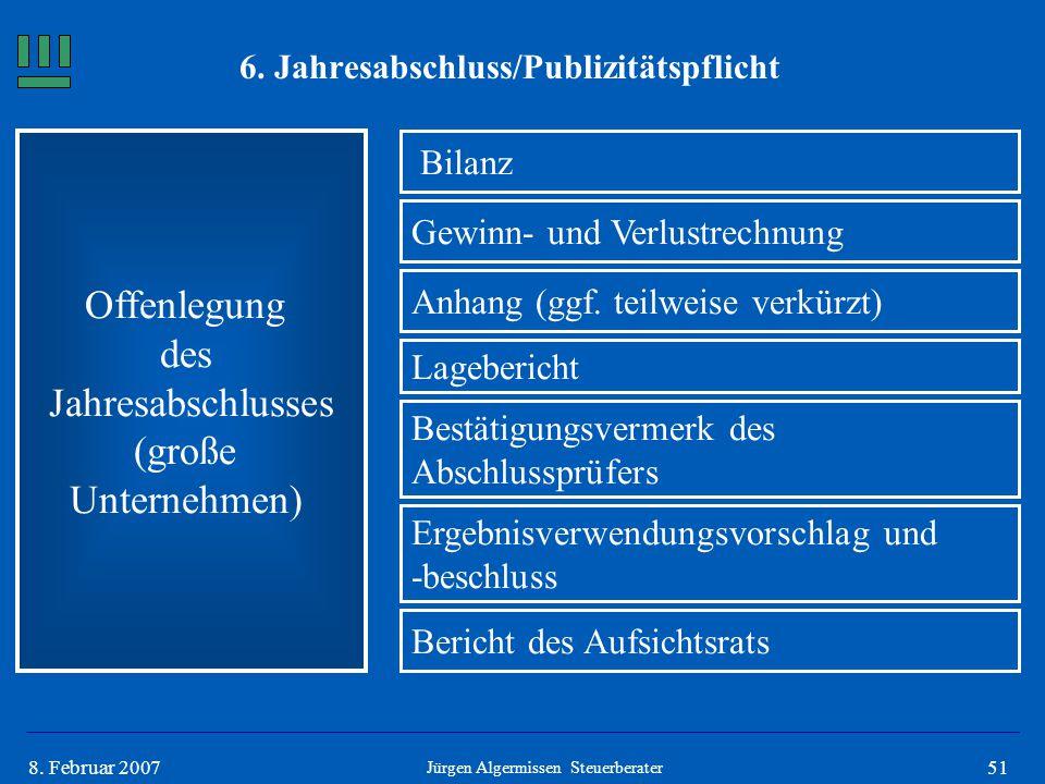 518. Februar 2007 Offenlegung des Jahresabschlusses (große Unternehmen) Bilanz Jürgen Algermissen Steuerberater Gewinn- und Verlustrechnung Anhang (gg