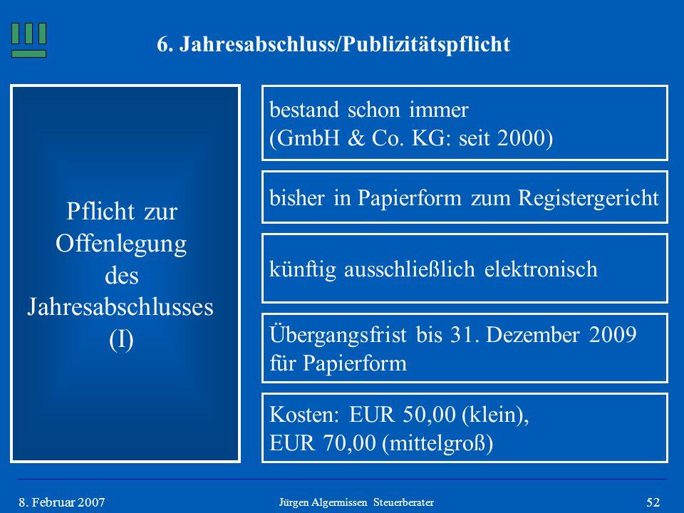 528. Februar 2007 Pflicht zur Offenlegung des Jahresabschlusses (I) bestand schon immer (GmbH & Co. KG: seit 2000) Jürgen Algermissen Steuerberater bi