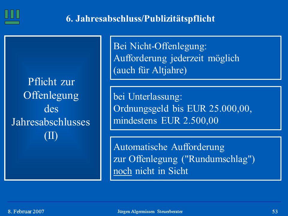538. Februar 2007 Pflicht zur Offenlegung des Jahresabschlusses (II) Bei Nicht-Offenlegung: Aufforderung jederzeit möglich (auch für Altjahre) Jürgen