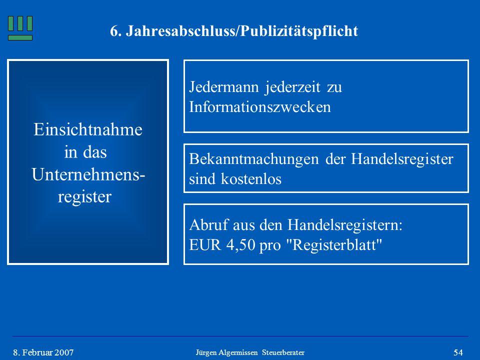 548. Februar 2007 Einsichtnahme in das Unternehmens- register Jedermann jederzeit zu Informationszwecken Jürgen Algermissen Steuerberater Bekanntmachu