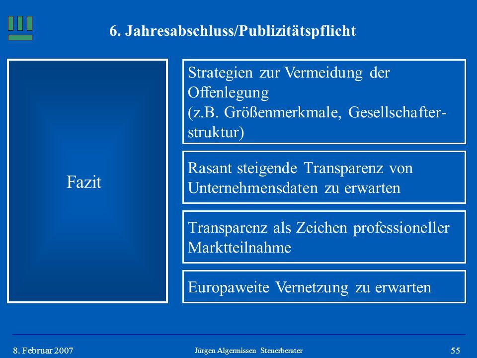558. Februar 2007 Fazit Jürgen Algermissen Steuerberater Strategien zur Vermeidung der Offenlegung (z.B. Größenmerkmale, Gesellschafter- struktur) Ras