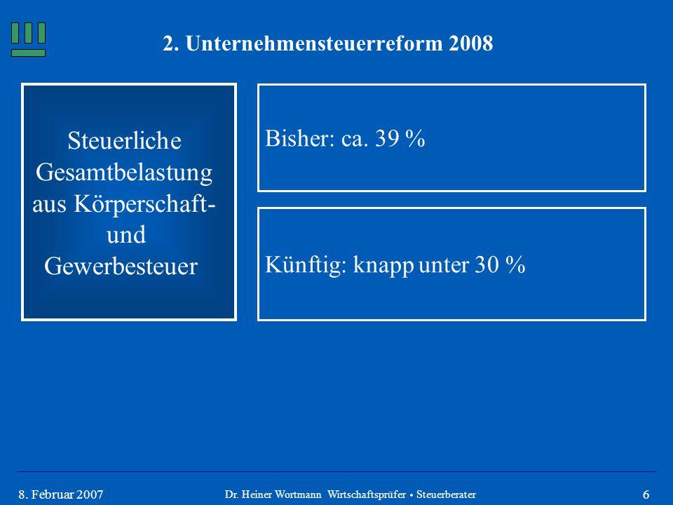68. Februar 2007 Steuerliche Gesamtbelastung aus Körperschaft- und Gewerbesteuer Bisher: ca. 39 % Dr. Heiner Wortmann Wirtschaftsprüfer  Steuerberate