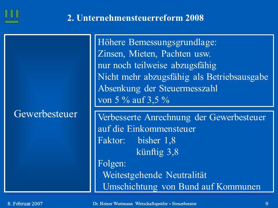 98. Februar 2007 Gewerbesteuer Höhere Bemessungsgrundlage: Zinsen, Mieten, Pachten usw. nur noch teilweise abzugsfähig Nicht mehr abzugsfähig als Betr