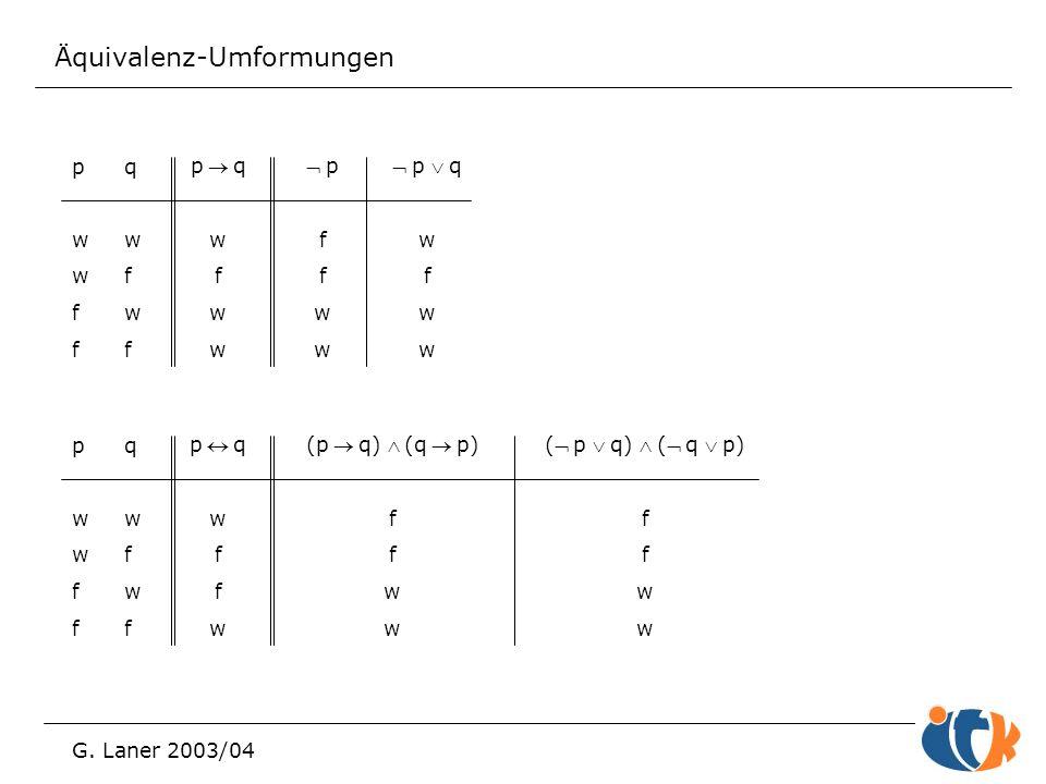 Äquivalenz-Umformungen G. Laner 2003/04 pwwffpwwff qwfwfqwfwf pqwfwwpqwfww  p f w  p q w f w pwwffpwwff qwfwfqwfwf pqwffwpqwffw (pq