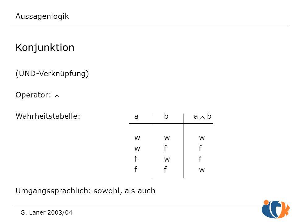 Aussagenlogik G. Laner 2003/04 Konjunktion (UND-Verknüpfung) Operator:  Wahrheitstabelle:aba b ww w wf f fw f ff w Umgangssprachlich: sowohl, als a