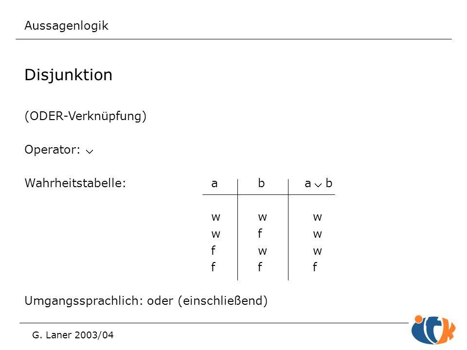 Aussagenlogik G. Laner 2003/04 Disjunktion (ODER-Verknüpfung) Operator:  Wahrheitstabelle:aba b ww w wf w fw w ff f Umgangssprachlich: oder (einsch
