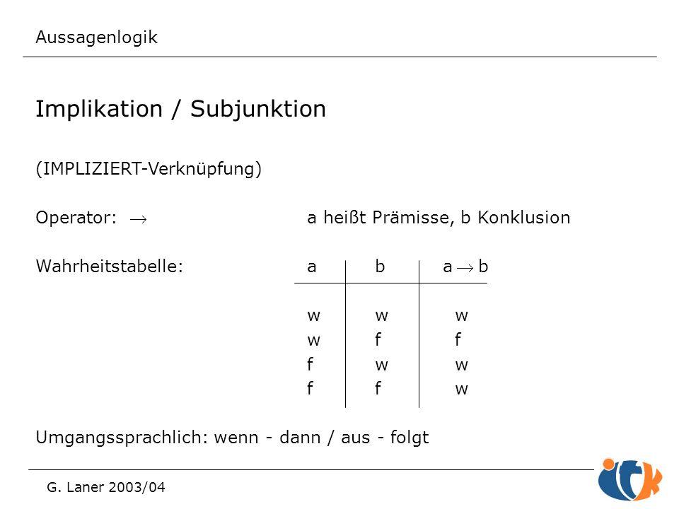 Aussagenlogik G. Laner 2003/04 Implikation / Subjunktion (IMPLIZIERT-Verknüpfung) Operator: a heißt Prämisse, b Konklusion Wahrheitstabelle:aba