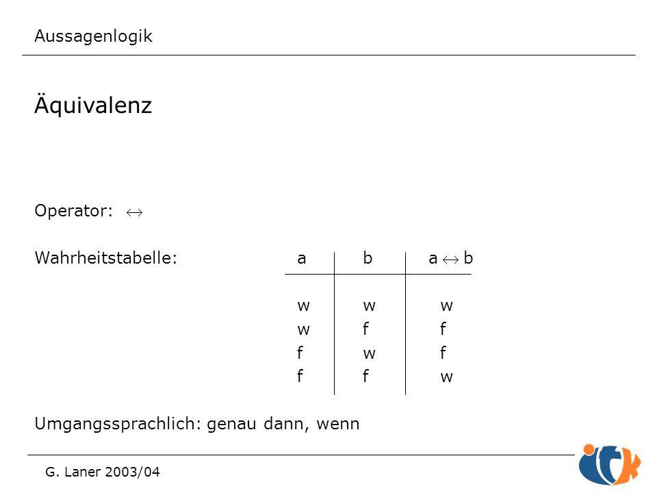 Aussagenlogik G. Laner 2003/04 Äquivalenz Operator:  Wahrheitstabelle:abab ww w wf f fw f ff w Umgangssprachlich: genau dann, wenn
