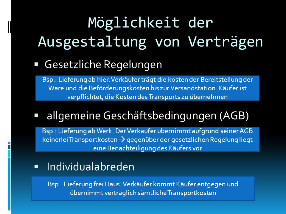 Möglichkeit der Ausgestaltung von Verträgen  Gesetzliche Regelungen  allgemeine Geschäftsbedingungen (AGB)  Individualabreden Bsp.: Lieferung ab hier.
