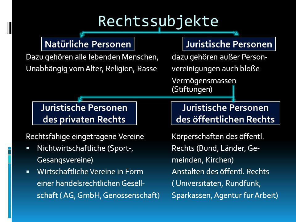 Dazu gehören alle lebenden Menschen,dazu gehören außer Person- Unabhängig vom Alter, Religion, Rassevereinigungen auch bloße Vermögensmassen (Stiftungen) Rechtsfähige eingetragene VereineKörperschaften des öffentl.