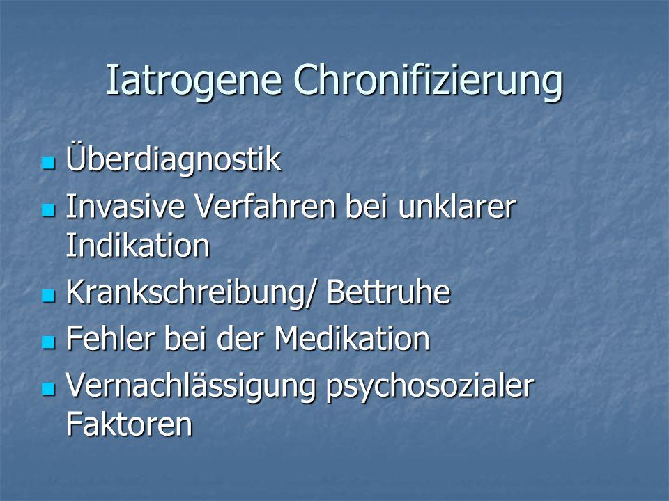 Iatrogene Chronifizierung Überdiagnostik Überdiagnostik Invasive Verfahren bei unklarer Indikation Invasive Verfahren bei unklarer Indikation Krankschreibung/ Bettruhe Krankschreibung/ Bettruhe Fehler bei der Medikation Fehler bei der Medikation Vernachlässigung psychosozialer Faktoren Vernachlässigung psychosozialer Faktoren