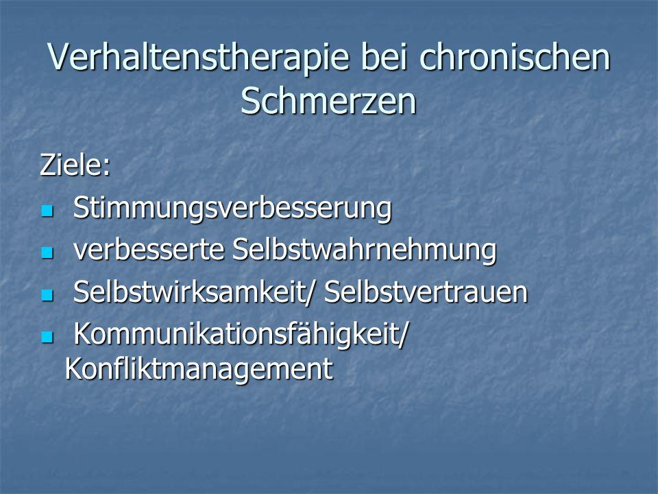 Verhaltenstherapie bei chronischen Schmerzen Ziele: Stimmungsverbesserung Stimmungsverbesserung verbesserte Selbstwahrnehmung verbesserte Selbstwahrnehmung Selbstwirksamkeit/ Selbstvertrauen Selbstwirksamkeit/ Selbstvertrauen Kommunikationsfähigkeit/ Konfliktmanagement Kommunikationsfähigkeit/ Konfliktmanagement