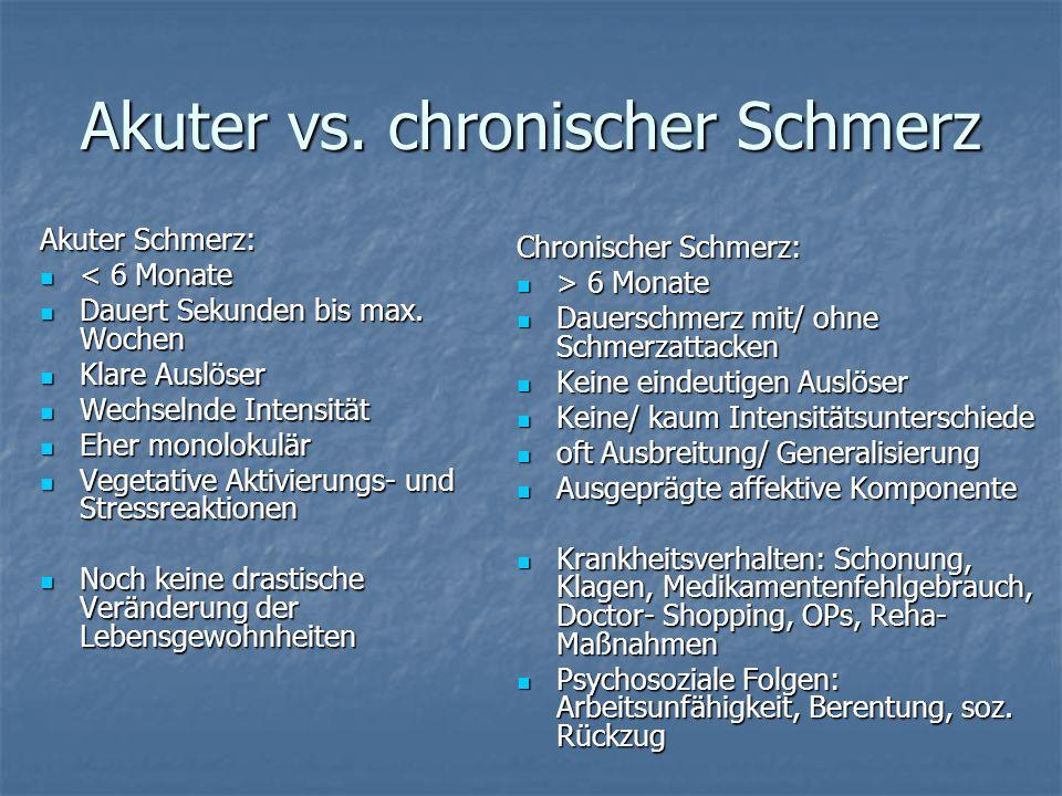 Akuter vs.chronischer Schmerz Akuter Schmerz: < 6 Monate < 6 Monate Dauert Sekunden bis max.