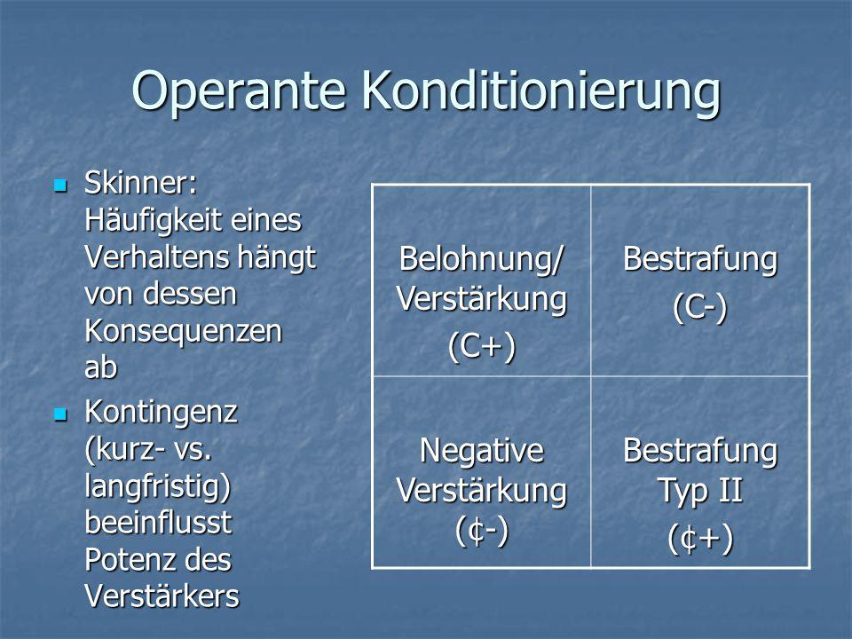 Operante Konditionierung Skinner: Häufigkeit eines Verhaltens hängt von dessen Konsequenzen ab Skinner: Häufigkeit eines Verhaltens hängt von dessen Konsequenzen ab Kontingenz (kurz- vs.