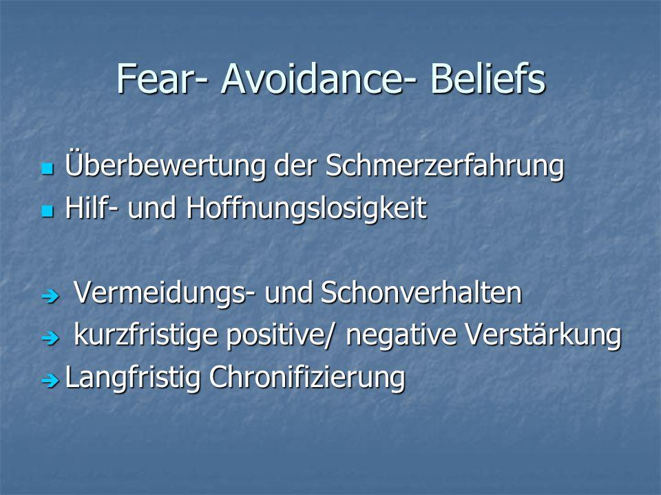 Fear- Avoidance- Beliefs Überbewertung der Schmerzerfahrung Überbewertung der Schmerzerfahrung Hilf- und Hoffnungslosigkeit Hilf- und Hoffnungslosigkeit  Vermeidungs- und Schonverhalten  kurzfristige positive/ negative Verstärkung  Langfristig Chronifizierung
