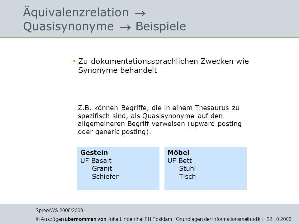 Jutta Lindenthal Äquivalenzrelation  Quasisynonyme  Beispiele  Zu dokumentationssprachlichen Zwecken wie Synonyme behandelt Gestein UF Basalt Grani