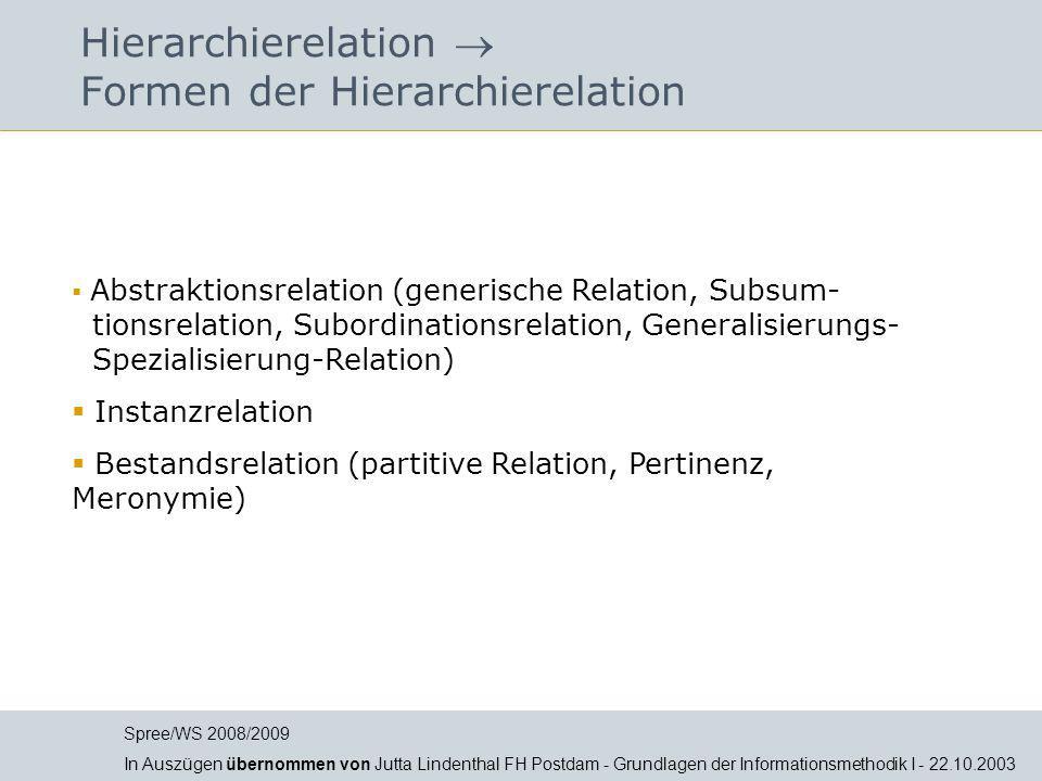 Hierarchierelation  Formen der Hierarchierelation  Abstraktionsrelation (generische Relation, Subsum- tionsrelation, Subordinationsrelation, General