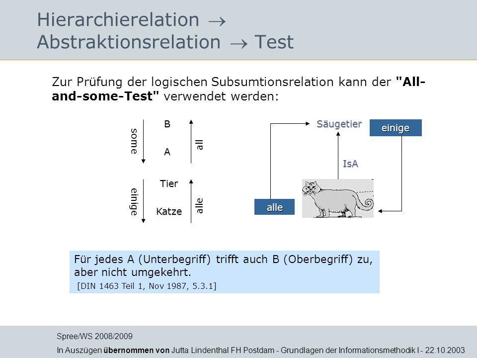 Hierarchierelation  Abstraktionsrelation  Test Für jedes A (Unterbegriff) trifft auch B (Oberbegriff) zu, aber nicht umgekehrt. [DIN 1463 Teil 1, No