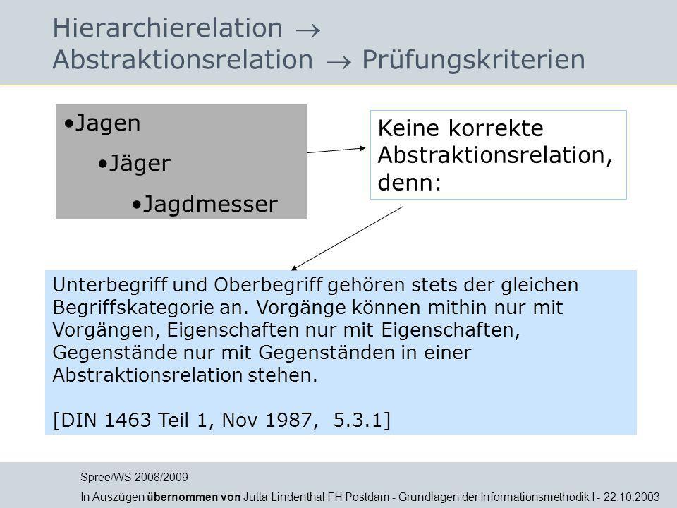 Hierarchierelation  Abstraktionsrelation  Prüfungskriterien Unterbegriff und Oberbegriff gehören stets der gleichen Begriffskategorie an. Vorgänge k