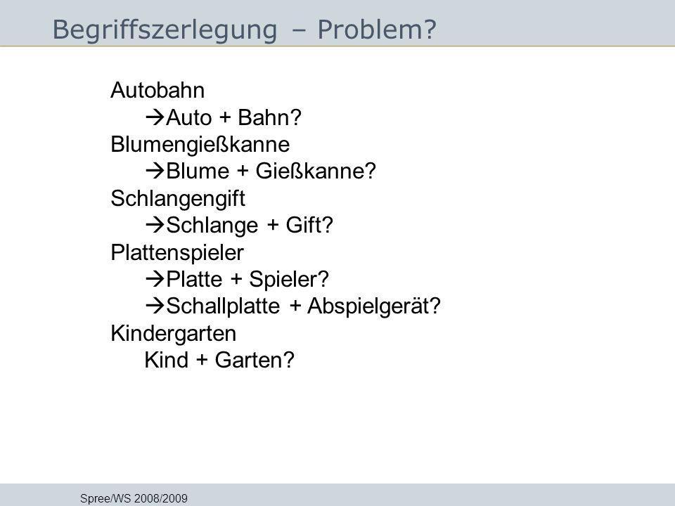 Begriffszerlegung – Problem? Spree/WS 2008/2009 In Auszügen übernommen von Jutta Lindenthal FH Postdam - Grundlagen der Informationsmethodik I - 22.10