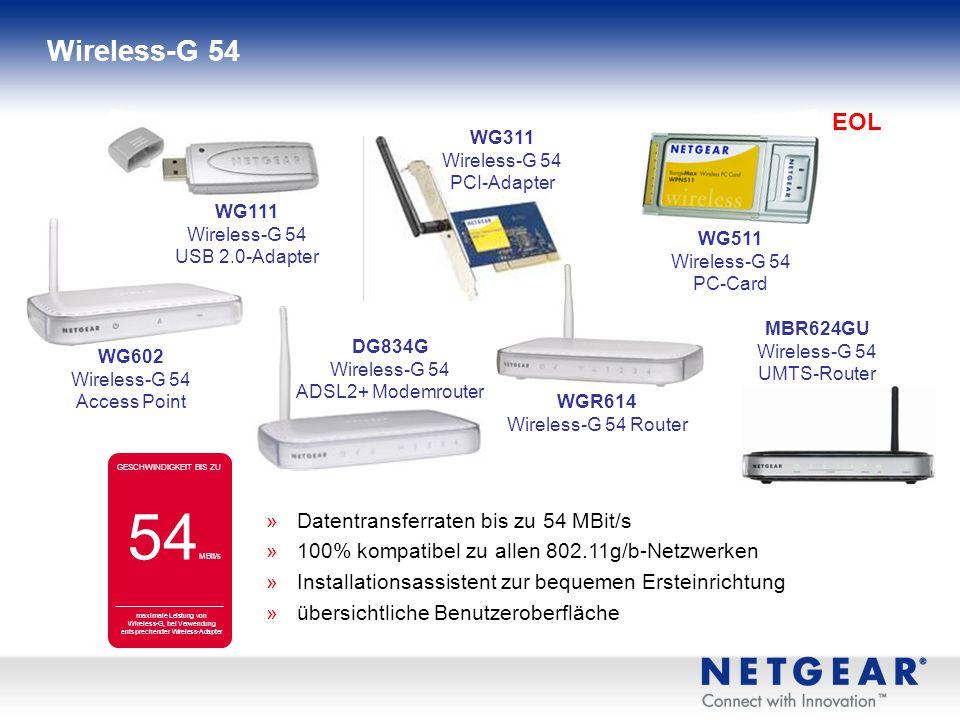 NETGEAR hat auf seinen Verpackungen ein Farbcode-System zur Zuordnung von Wireless-Produkten zu Produktfamilien eingeführt: Produktfamilien Wireless-G