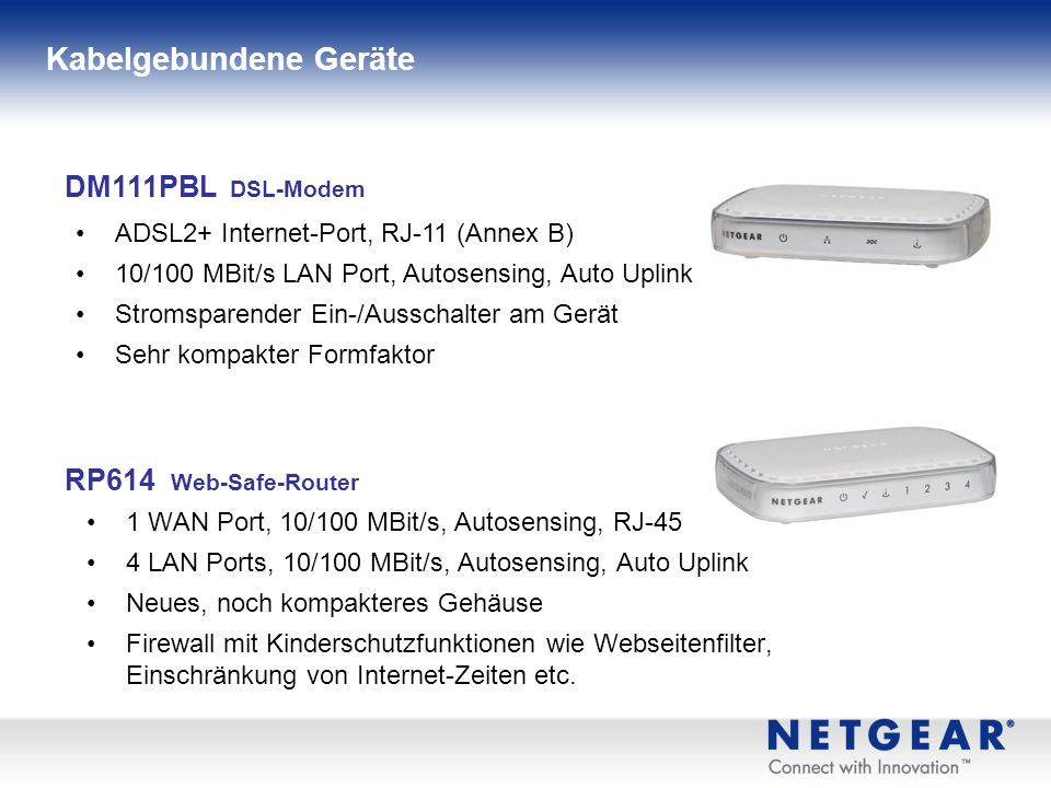 Wireless-N 300 Modem Routers (DGND3300 & DGN3500) NETGEAR Advantages ReadyShare™ USB Storage Access Push 'N' Connect with WiFi Protected setup (WPS) 8 (DGND3300) & 3 (DGN3500) Metamaterial antennas, reach and range Quality of Service (QOS), WDS repeater functionality Multiple SSID support New multi-language Smart Wizard Dual Band Wireless-N Modem Router DGND3300 Simultaneous Dual Band 2.4 and 5 GHz