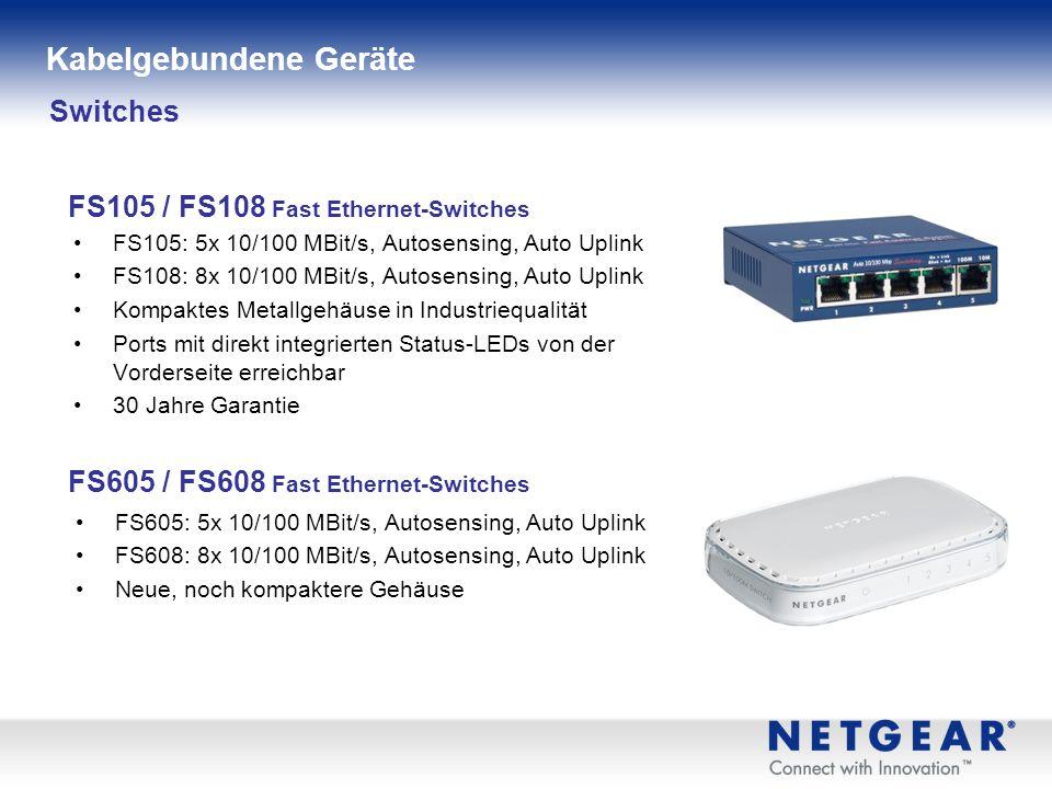 FS105: 5x 10/100 MBit/s, Autosensing, Auto Uplink FS108: 8x 10/100 MBit/s, Autosensing, Auto Uplink Kompaktes Metallgehäuse in Industriequalität Ports mit direkt integrierten Status-LEDs von der Vorderseite erreichbar 30 Jahre Garantie Switches FS105 / FS108 Fast Ethernet-Switches Kabelgebundene Geräte FS605: 5x 10/100 MBit/s, Autosensing, Auto Uplink FS608: 8x 10/100 MBit/s, Autosensing, Auto Uplink Neue, noch kompaktere Gehäuse FS605 / FS608 Fast Ethernet-Switches