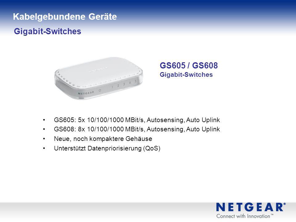 Gigabit-Switches GS605 / GS608 Gigabit-Switches GS605: 5x 10/100/1000 MBit/s, Autosensing, Auto Uplink GS608: 8x 10/100/1000 MBit/s, Autosensing, Auto Uplink Neue, noch kompaktere Gehäuse Unterstützt Datenpriorisierung (QoS) Kabelgebundene Geräte