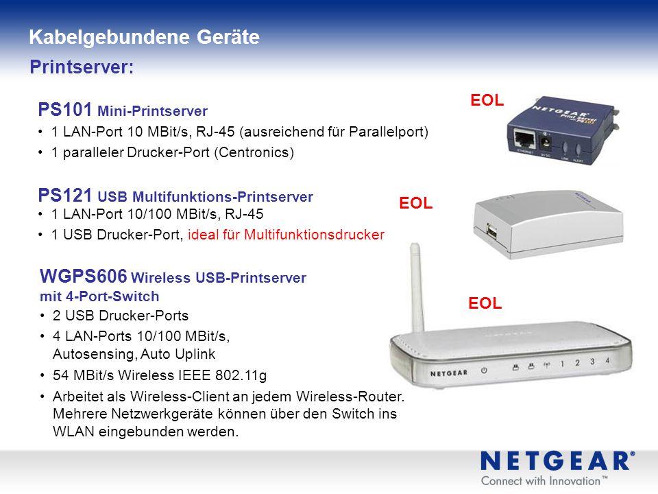1 LAN-Port 10 MBit/s, RJ-45 (ausreichend für Parallelport) 1 paralleler Drucker-Port (Centronics) Printserver: PS101 Mini-Printserver PS121 USB Multifunktions-Printserver 1 LAN-Port 10/100 MBit/s, RJ-45 1 USB Drucker-Port, ideal für Multifunktionsdrucker WGPS606 Wireless USB-Printserver mit 4-Port-Switch 2 USB Drucker-Ports 4 LAN-Ports 10/100 MBit/s, Autosensing, Auto Uplink 54 MBit/s Wireless IEEE 802.11g Arbeitet als Wireless-Client an jedem Wireless-Router.