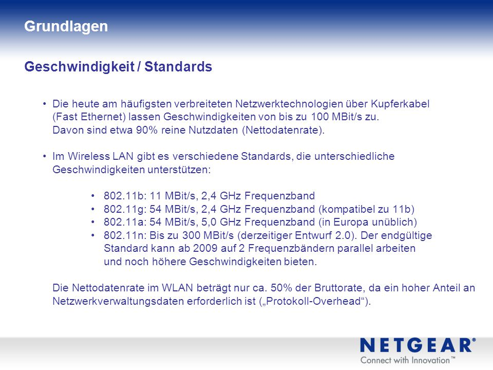 Geschwindigkeit / Standards Die heute am häufigsten verbreiteten Netzwerktechnologien über Kupferkabel (Fast Ethernet) lassen Geschwindigkeiten von bis zu 100 MBit/s zu.