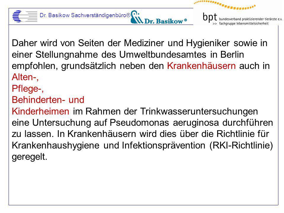 Dr. Basikow Sachverständigenbüro® Daher wird von Seiten der Mediziner und Hygieniker sowie in einer Stellungnahme des Umweltbundesamtes in Berlin empf