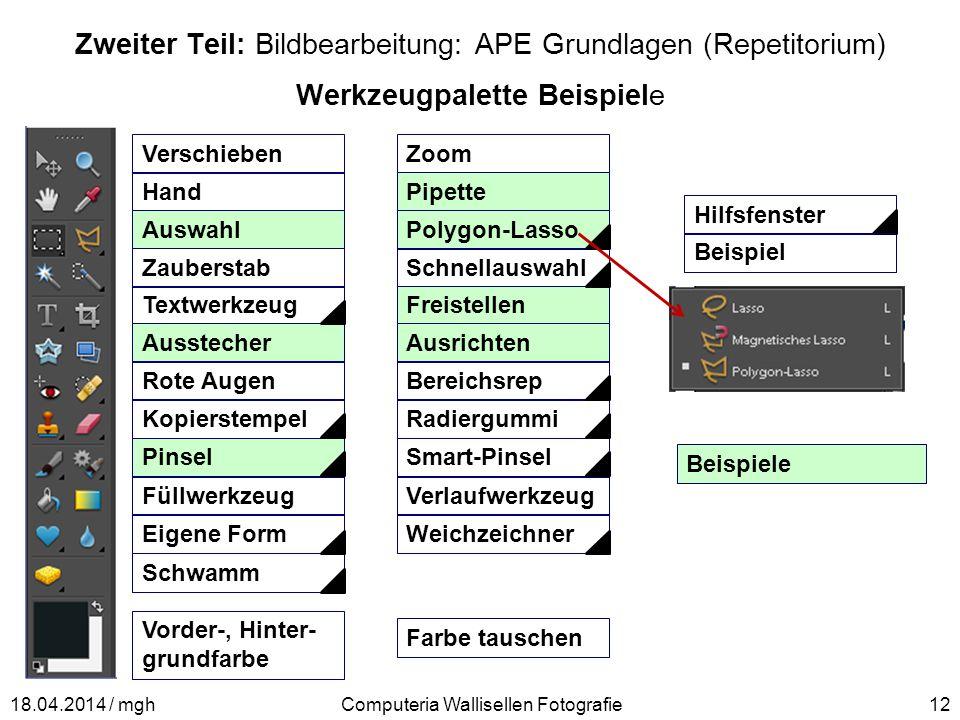 Zweiter Teil: Bildbearbeitung: APE Grundlagen (Repetitorium) Werkzeugpalette Beispiele Computeria Wallisellen Fotografie1218.04.2014 / mgh Verschieben