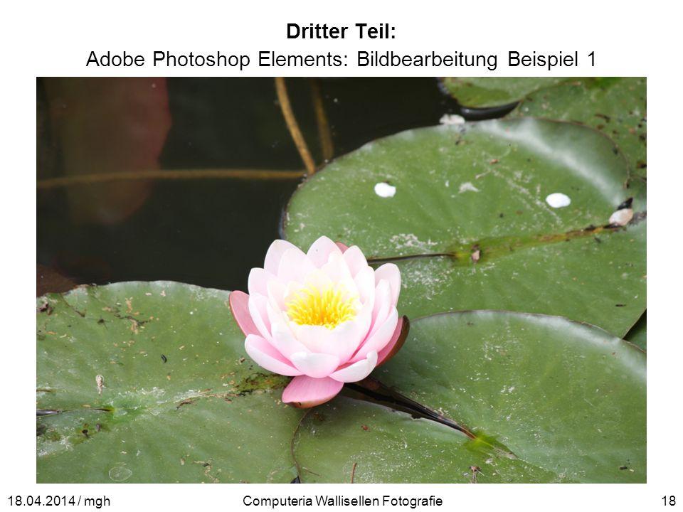 Dritter Teil: Adobe Photoshop Elements: Bildbearbeitung Beispiel 1 Computeria Wallisellen Fotografie1818.04.2014 / mgh