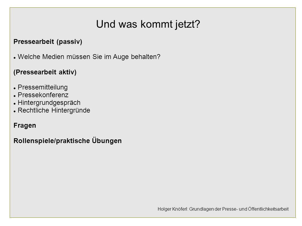 Holger Knöferl: Grundlagen der Presse- und Öffentlichkeitsarbeit Und was kommt jetzt? Pressearbeit (passiv) Welche Medien müssen Sie im Auge behalten?