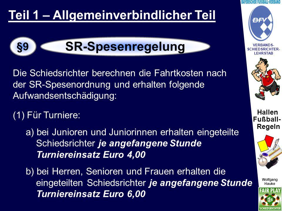 Hallen Fußball- Regeln Wolfgang Hauke VERBANDS- SCHIEDSRICHTER- LEHRSTAB Wolfgang Hauke (2) Für Einzelspiele: a) bei Junioren und Juniorinnen erhalten die eingeteilten Schiedsrichter eine pauschale Entschädigung in Höhe von Euro 6,00.