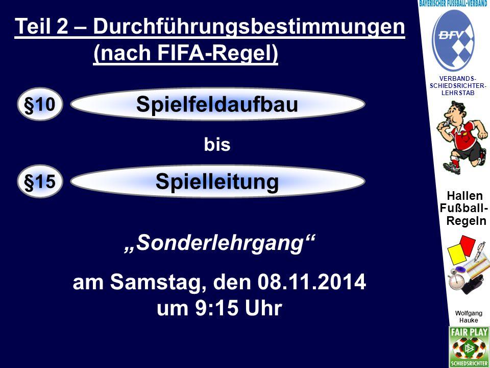 Hallen Fußball- Regeln Wolfgang Hauke VERBANDS- SCHIEDSRICHTER- LEHRSTAB Wolfgang Hauke Tor- und Seitenlinie soll nach Möglichkeit 1 Meter von den Hallenwänden entfernt sein.