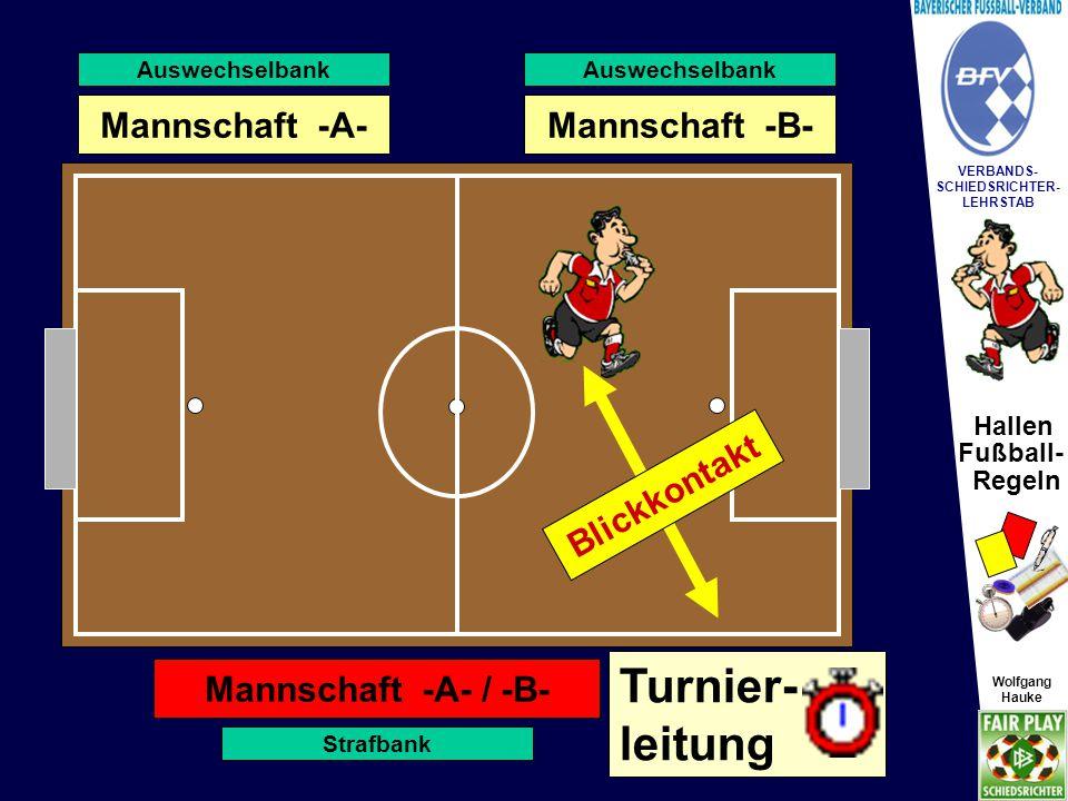 Hallen Fußball- Regeln Wolfgang Hauke VERBANDS- SCHIEDSRICHTER- LEHRSTAB Wolfgang Hauke Strafbank AW-Bank Straf-/Torraum Auswechselbank Strafbank Vorh.
